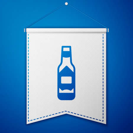 Blue Tabasco sauce icon isolated on blue background. Chili cayenne spicy pepper sauce. White pennant template. Vector