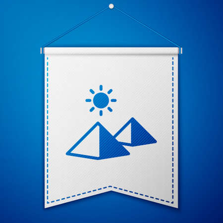 Blue Egypt pyramids icon isolated on blue background. Symbol of ancient Egypt. White pennant template. Vector
