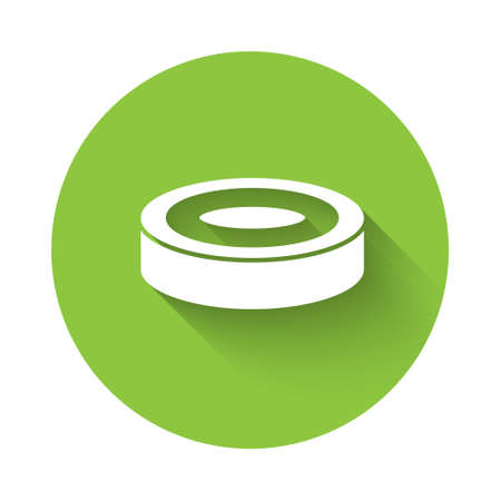 White Checker game chips icon isolated with long shadow. Green circle button. Vector