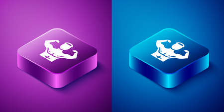 Isometric Bodybuilder showing his muscles icon isolated on blue and purple background. Fit fitness strength health hobby concept. Square button. Vector