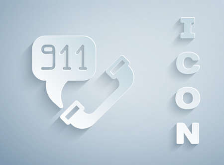 Paper cut Telephone with emergency call 911 icon isolated on grey background. Police, ambulance, fire department, call, phone. Paper art style. Vector