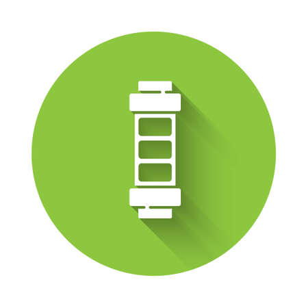 White Battery charge level indicator icon isolated with long shadow. Green circle button. Vector