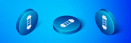 Isometric Battery charge level indicator icon isolated on blue background. Blue circle button. Vector