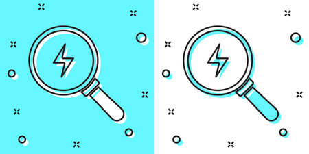 Black line Magnifying glass with lightning bolt icon isolated on green and white background. Flash sign. Charge flash. Thunder bolt. Lighting strike. Random dynamic shapes. Vector