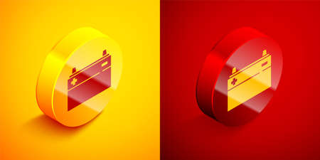 Isometric Car battery icon isolated on orange and red background. Accumulator battery energy power and electricity accumulator battery. Circle button. Vector