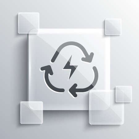 Grey Battery with recycle symbol line icon isolated on grey background. Battery with recycling symbol - renewable energy concept. Square glass panels. Vector