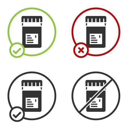 Black Biologically active additives icon isolated on white background. Circle button. Vector Vektoros illusztráció