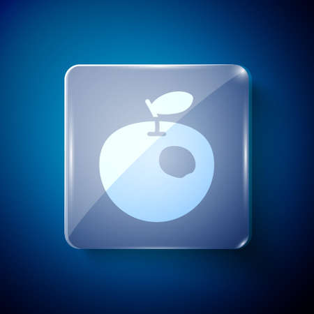 White Genetically modified apple icon isolated on blue background. GMO fruit. Square glass panels. Vector Ilustrace
