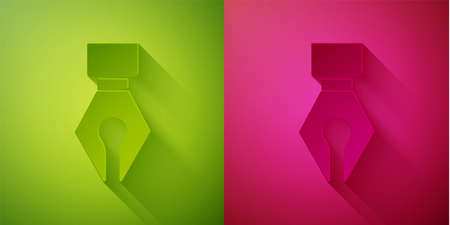 Paper cut Fountain pen nib icon isolated on green and pink background. Pen tool sign. Paper art style. Vector