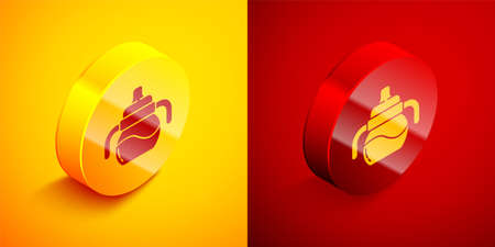 Isometric Baby bottle icon isolated on orange and red background. Feeding bottle icon. Milk bottle sign. Circle button. Vector