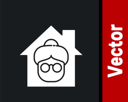 White Nursing home building icon isolated on black background. Health care for old and sick people. Center for retired people. Vector