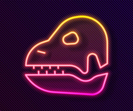 Glowing neon line Dinosaur skull icon isolated on black background. Vector