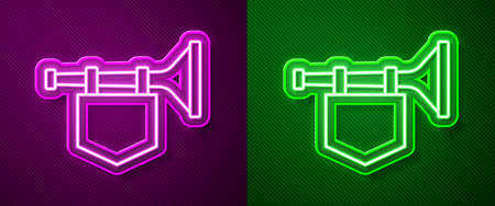 Glowing neon line Trumpet with flag icon isolated on purple and green background. Musical instrument trumpet. Vector