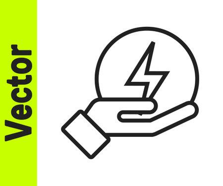 Black line Lightning bolt icon isolated on white background. Flash sign. Charge flash icon. Thunder bolt. Lighting strike. Vector