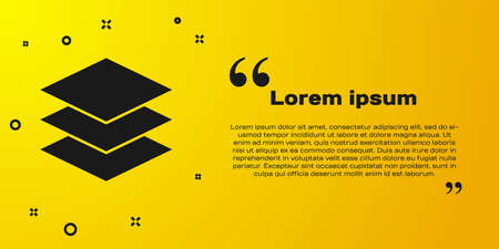 Black Layers clothing textile icon isolated on yellow background. Element of fabric features. Vector Illustration
