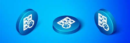 Isometric Dog pill icon isolated on blue background. Prescription medicine for animal. Blue circle button. Vector