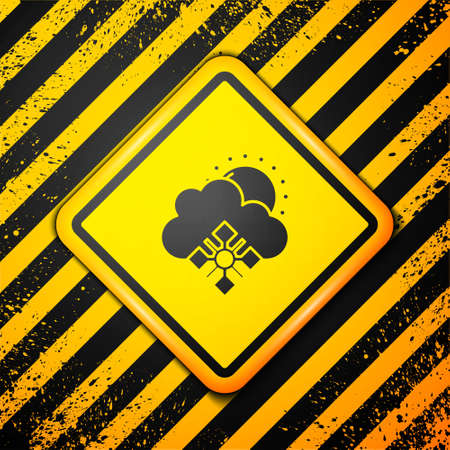 Black Cloud with snow and sun icon isolated on yellow background. Cloud with snowflakes. Single weather icon. Snowing sign. Warning sign. Vector