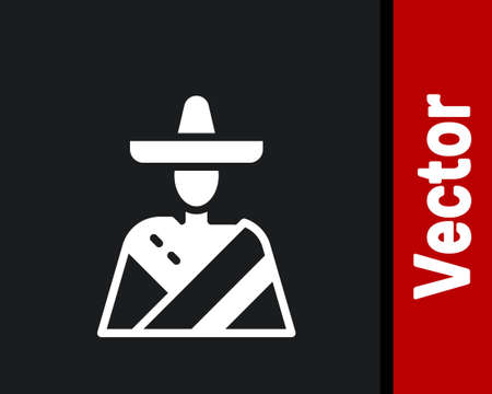 White Mexican man wearing sombrero icon isolated on black background. Hispanic man with a mustache. Vector
