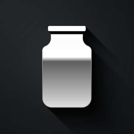 Silver Glass jar with screw-cap icon isolated on black background. Long shadow style. Vector