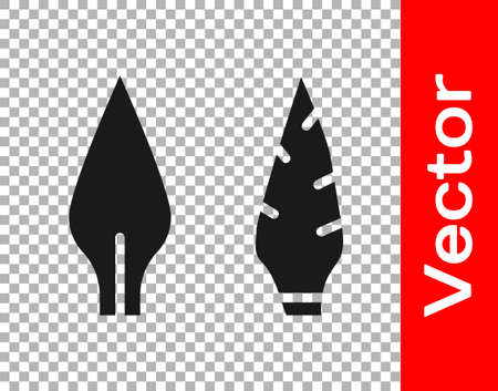 Black Stone age arrow head icon isolated on transparent background. Medieval weapon. Vector