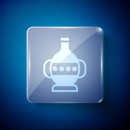 White Ancient amphorae icon isolated on blue background. Square glass panels. Vector Ilustración de vector
