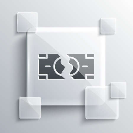 Grey Tearing apart money banknote into two peaces icon isolated on grey background. Square glass panels. Vector