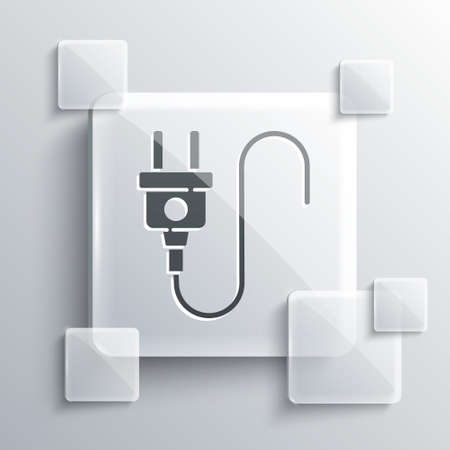 Grey Electric plug icon isolated on grey background. Concept of connection and disconnection of the electricity. Square glass panels. Vector Иллюстрация