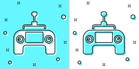 Black line Drone radio remote control transmitter icon isolated on green and white background. Random dynamic shapes. Vector
