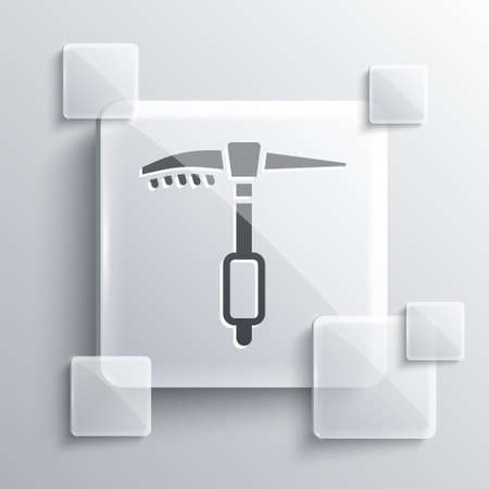 Grey Ice axe icon isolated on grey background. Montain climbing equipment. Square glass panels. Vector Ilustracja