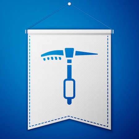 Blue Ice axe icon isolated on blue background. Montain climbing equipment. White pennant template. Vector