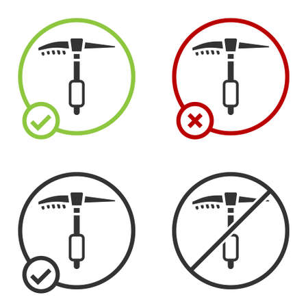 Black Ice axe icon isolated on white background. Montain climbing equipment. Circle button. Vector Ilustracja