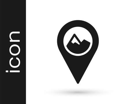 Black Map pointer with mountain icon isolated on white background. Mountains travel icon. Vector Ilustracja