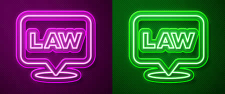 Glowing neon line Location law icon isolated on purple and green background. Vector