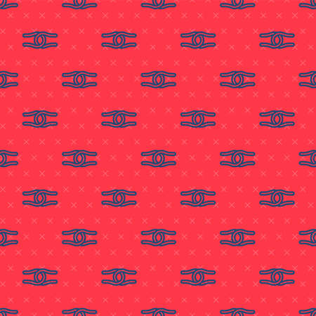 Blue line Rope tied in a knot icon isolated seamless pattern on red background. Vector