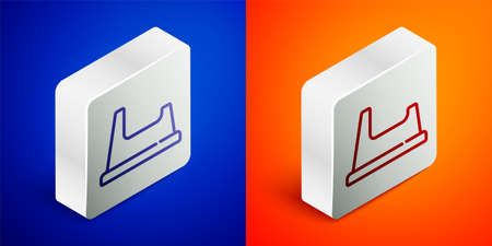 Isometric line Baby potty icon isolated on blue and orange background. Chamber pot. Silver square button. Vector