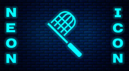 Glowing neon Butterfly net icon isolated on brick wall background. Vector