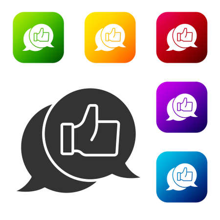 Black Consumer or customer product rating icon isolated on white background. Set icons in color square buttons. Vector