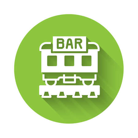 White Restaurant train icon isolated with long shadow. Green circle button. Vector