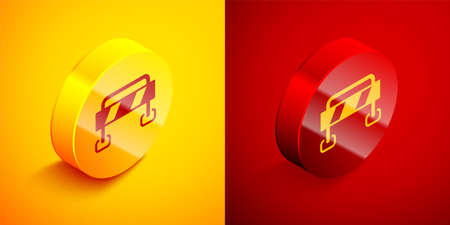 Isometric Road barrier icon isolated on orange and red background. Symbol of restricted area which are in under construction processes. Repair works. Circle button. Vector