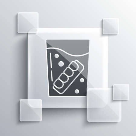 Grey False jaw in glass icon isolated on grey background. Dental jaw or dentures, false teeth with incisors. Square glass panels. Vector