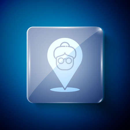 White Nursing home building icon isolated on blue background. Health care for old and sick people. Center for retired people. Square glass panels. Vector Векторная Иллюстрация