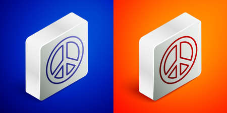 Isometric line Peace icon isolated on blue and orange background. Hippie symbol of peace. Silver square button. Vector