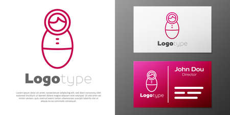 Logotype line Tumbler doll toy icon isolated on white background. Logo design template element. Vector