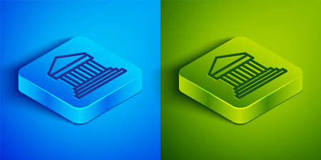 Isometric line Parthenon from Athens, Acropolis, Greece icon isolated on blue and green background. Greek ancient national landmark. Square button. Vector