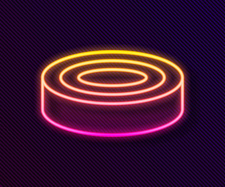 Glowing neon line Checker game chips icon isolated on black background. Vector