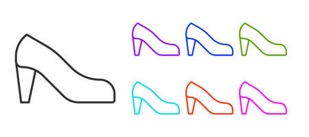 Black line Woman shoe with high heel icon isolated on white background. Set icons colorful. Vector