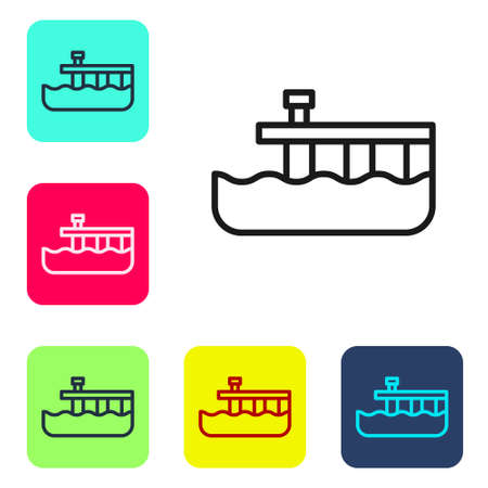 Black line Beach pier dock icon isolated on white background. Set icons in color square buttons. Vector