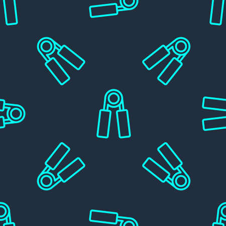 Green line Sport expander icon isolated seamless pattern on blue background. Sport equipment. Vector