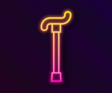 Glowing neon line Walking stick cane icon isolated on black background. Vector