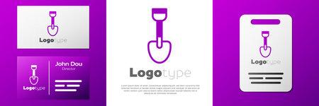 Logotype Shovel toy icon isolated on white background. Logo design template element. Vector